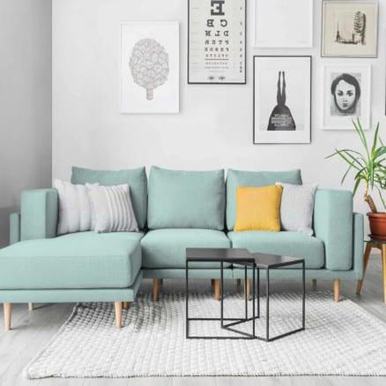 Modulares Ecksofa Scandi Style Sofa CLOOODS, frei stellbar, mit Stoff bezogene Rückseite, mit abnehmbaren Bezug, 3-Sitzer, L-Form, Mint, Gruen