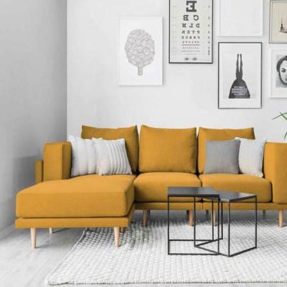 Modulares Scandi Style Sofa CLOOODS, variabler Aufbau, mit losen Rueckenkissen, mit Stoff bezogene Rückseite, mit abnehmbaren Bezug, 3-Sitzer, Gold, Orange