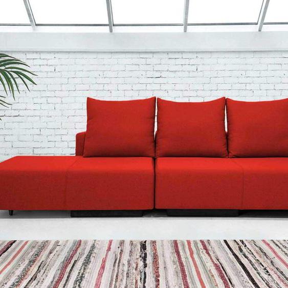 Modulsofa Set BonBon M Design-Sofa mit Doppelbett-Funktion, lose Rueckenkissen, rot, Webstoff, Erweiterbar, flexibel zu stellen: Z.B.: als 2-Sitzer mit Recamiere oder als Ecksofa, Lehne mit mit Stauraum, made in Europe