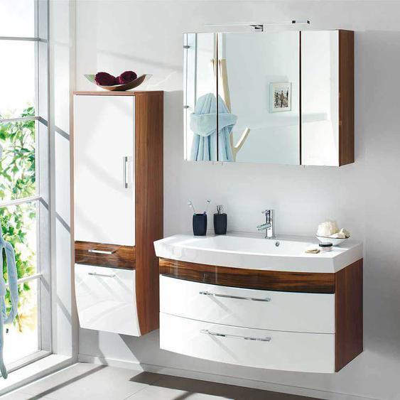 Möbel Kombination für Bad Weiß Hochglanz Walnuss (3-teilig)