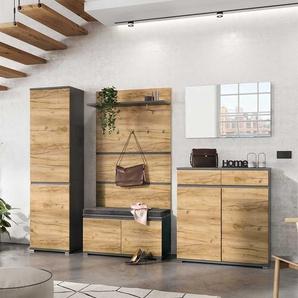 Möbel Set in Wildeichefarben und Anthrazit Diele und Garderobe (fünfteilig)