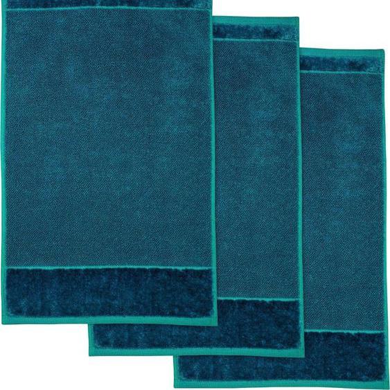 Möve Gästehandtuch MÖVE Bamboo Luxe 3er Set Gästetuch, (3 St.), mit seidig glänzenden Bordüren B/L: 30 cm x 50 St.) blau Gästehandtücher Handtücher Badetücher