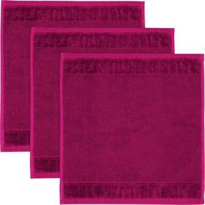Waschlappen »MÖVE Bamboo Luxe 3er Set Waschhandschuh«, Möve, mit seidig glänzenden Bordüren