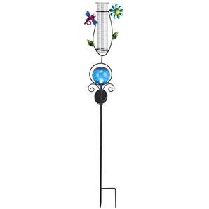 Monzana Solarstecker mit Regenmesser 250ml blau