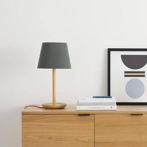 Moore Tischlampe, Natuerliches Holz und Grau