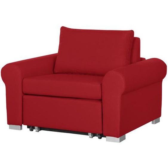 mooved Schlafsessel Latina IV Rot Webstoff mit Schlaffunktion/Bettkasten 125x90x90 cm (BxHxT)