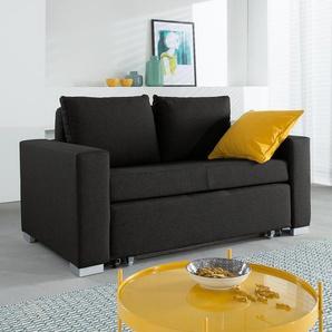 mooved Schlafsofa Latina 2-Sitzer Schwarz Webstoff 150x90x90 cm (BxHxT) mit Schlaffunktion/Bettkasten Modern