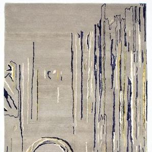 Morgenland Teppiche Designer Hochwertiger Wollteppich Modern Unikat Abstrakt Dick Weich, 55 Schurwolle, 45 Prozent Seide, Blau, 244 x 157 x 1,8 cm
