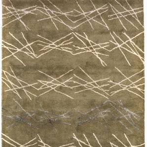 Morgenland Teppiche Designer Hochwertiger Wollteppich Modern Unikat Abstrakt Dick Weich, 55 Schurwolle, 45 Prozent Seide, Grün, 182 x 122 x 1,8 cm