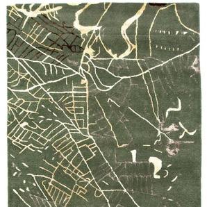 Morgenland Teppiche Designer Hochwertiger Wollteppich Modern Unikat Abstrakt Dick Weich, 55 Schurwolle, 45 Prozent Seide, Grün, 243 x 154 x 1,8 cm