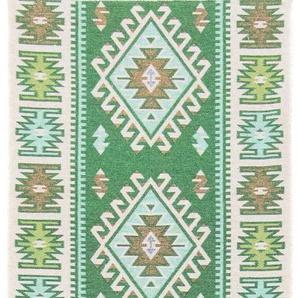 morgenland Wollteppich Kelim Teppich Ariz, rechteckig, 5 mm Höhe, reine Baumwolle B/L: 60 cm x 260 cm, 1 St. grün Kelim-Teppiche Orientteppich Teppiche