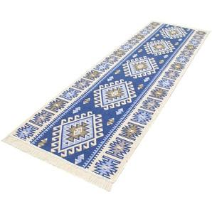morgenland Wollteppich Kelim Teppich Ariz, rechteckig, 5 mm Höhe, reine Baumwolle B/L: 80 cm x 190 cm, 1 St. blau Kelim-Teppiche Orientteppich Teppiche