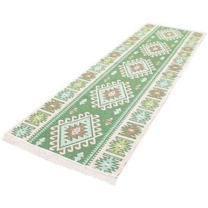 morgenland Wollteppich Kelim Teppich Ariz, rechteckig, 5 mm Höhe, reine Baumwolle B/L: 80 cm x 250 cm, 1 St. grün Kelim-Teppiche Orientteppich Teppiche