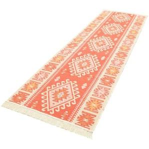 morgenland Wollteppich Kelim Teppich Ariz, rechteckig, 5 mm Höhe, reine Baumwolle B/L: 80 cm x 300 cm, 1 St. orange Kelim-Teppiche Orientteppich Teppiche