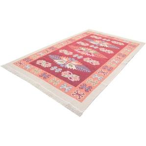 morgenland Wollteppich Kelim Teppich Gizeh, rechteckig, 5 mm Höhe, reine Baumwolle B/L: 160 cm x 245 cm, 1 St. rot Kelim-Teppiche Orientteppich Teppiche