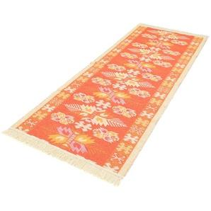 morgenland Wollteppich Kelim Teppich Gizeh, rechteckig, 5 mm Höhe, reine Baumwolle B/L: 80 cm x 240 cm, 1 St. orange Kelim-Teppiche Orientteppich Teppiche