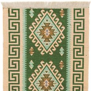morgenland Wollteppich Kelim Teppich Phönix, rechteckig, 5 mm Höhe, reine Baumwolle B/L: 80 cm x 150 cm, 1 St. grün Kelim-Teppiche Orientteppich Teppiche