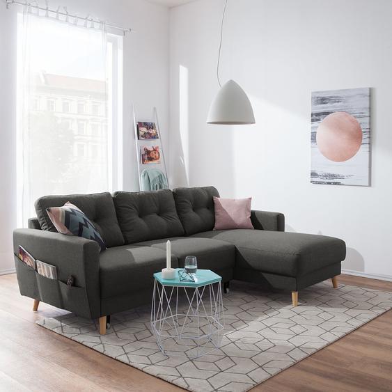 Mørteens Ecksofa Sola 2-Sitzer Dunkelgrau Flachgewebe 225x86x147 cm mit Schlaffunktion und Bettkasten