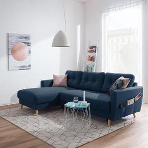 Mørteens Ecksofa Sola 2-Sitzer Jeansblau Flachgewebe 225x86x147 cm mit Schlaffunktion und Bettkasten