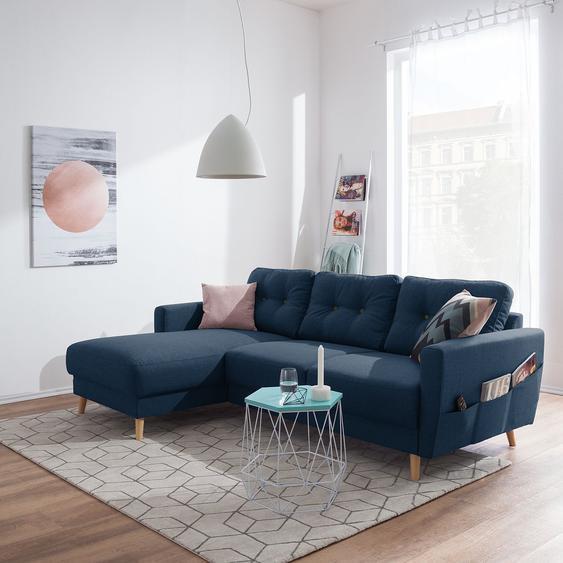 Mørteens Ecksofa Sola 2-Sitzer Jeansblau Flachgewebe 225x86x147 cm