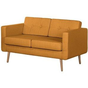 Mørteens Sofa Croom I 2-Sitzer Senfgelb Webstoff 143x84x81 cm (BxHxT) Skandi