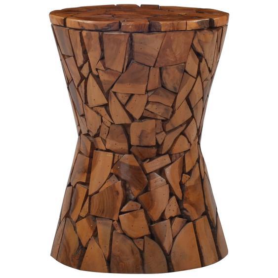 Mosaik Hocker Braun Massivholz Teak