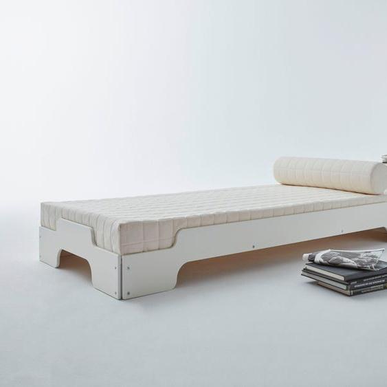 Stapelbett , Gestellhöhe: 23,5 cm, ausgezeichnet mit dem German Design Award - 2019, weiß, Material Holzwerkstoff, Birke, Schichtholz, Müller SMALL LIVING mit Bettkasten