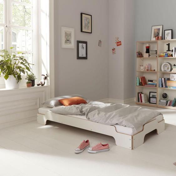 Müller SMALL LIVING Stapelbett STAPELLIEGE Komfort ( eine Liege), Gestell: Komforthöhe 27.5 cm, ausgezeichnet mit dem German Design Award - 2019 100x200 cm weiß Bettgestelle Betten Daybetten