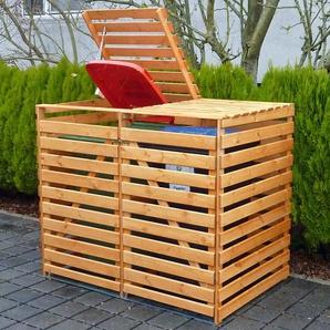 Mülltonnenbox Vario V für 2 Tonnen Honigbraun