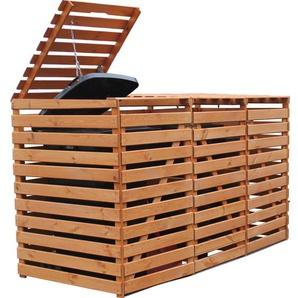 Mülltonnenbox Vario V für 3 Tonnen Honigbraun