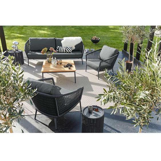 Musterring Ibiza Sofagruppe Aluminium/Kordel Dunkelgrau Hellgrau