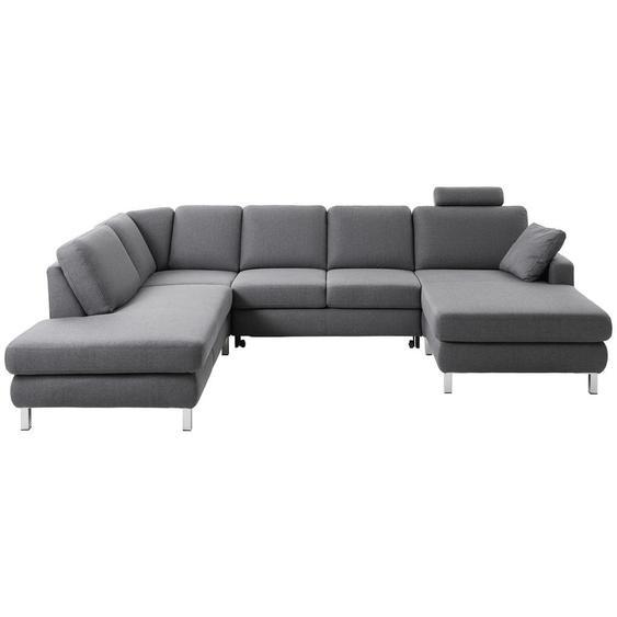 Musterring Wohnlandschaft Grau Flachgewebe , Textil , 6-Sitzer , 219x313x165 cm