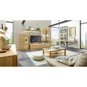 Musterring: Wohnwand, Glas, Holz,Eiche, Eiche, B/H/T 345 216 49