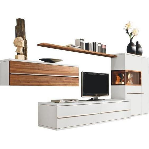 Musterring Wohnwand furniert Weiß, Braun , Holzwerkstoff , furniert , 4 Fächer , 2 Schubladen , 360x149x57 cm