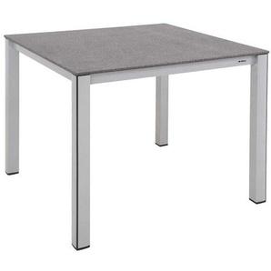 MWH Elements Gartentisch 90x90 cm Aluminium/Creatop Basic Silber/Grau