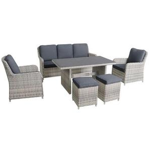 MWH Lodrino Loungegruppe 6-teilig Aluminium/Geflecht mit Tisch 140x80cm Dunkelgrau