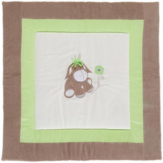 My Baby Lou Krabbeldecke , Grün, Beige , Textil , 100x100 cm