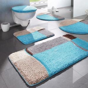 my home Badematte Belio, Höhe 20 mm, fußbodenheizungsgeeignet TOPSELLER rechteckig (90 cm x 160 cm), 1 St. blau Gemusterte Badematten