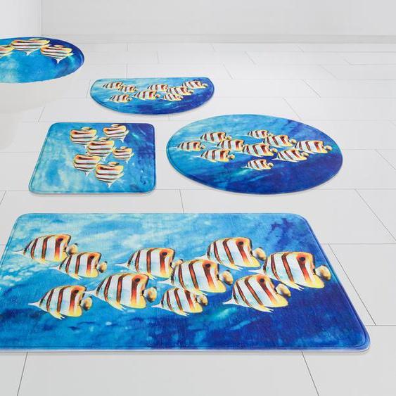 my home Badematte Fabius, Höhe 14 mm, Memory Schaum rechteckig (80 cm x 150 cm), 1 St. blau Gemusterte Badematten