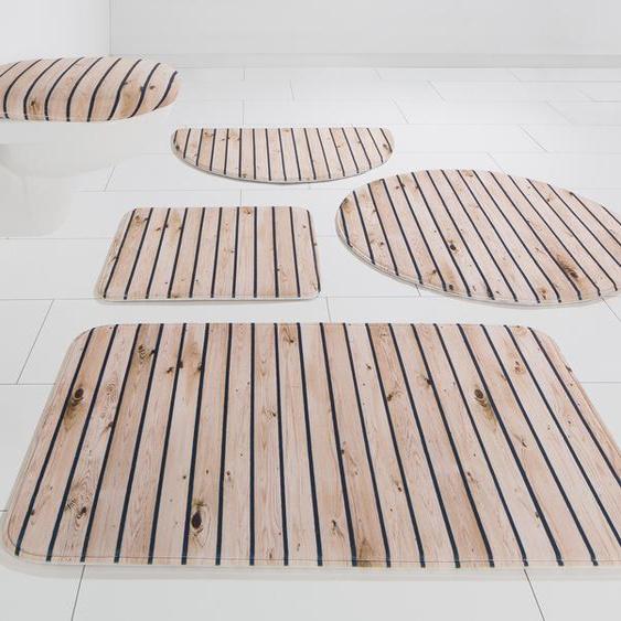 my home Badematte Holzoptik, Höhe 14 mm, rutschhemmend beschichtet 5, rechteckig 80x150 cm, mm beige Memory Schaum Badematten