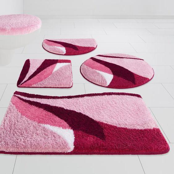 my home Badematte Magnus, Höhe 20 mm, strapazierfähig rechteckig (55 cm x 50 cm), 1 St. rosa Gemusterte Badematten
