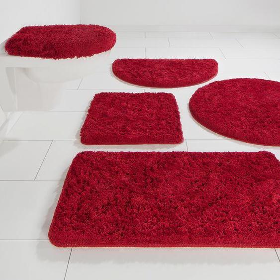 my home Badematte Sanremo, Höhe 30 mm, Besonders weich durch Microfaser rechteckig (60 cm x 100 cm), 1 St. rot Einfarbige Badematten