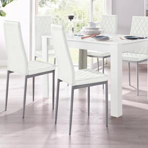 Essgruppe, mit Tisch in Weiß, Breite 120 cm (5-tlg.)