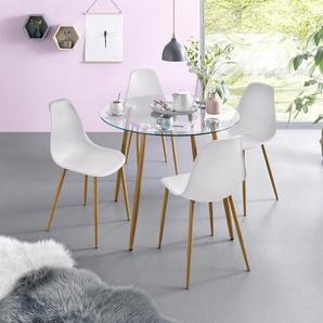 Essgruppe, Runder Glastisch mit 4 Stühlen (Kunststoffschale)