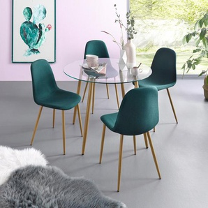 Essgruppe, Runder Glastisch mit 4 Stühlen (Webstoff)