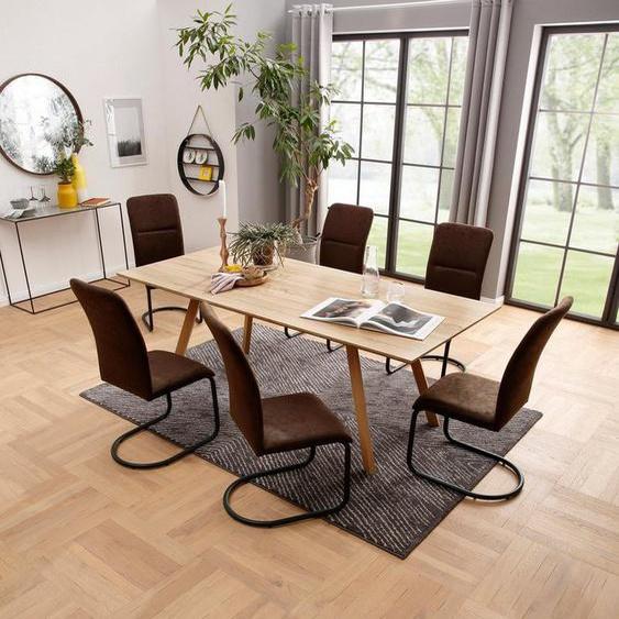 my home Essgruppe »Missy«, (Set, 7-tlg), aus Holzwerkstoff, bestehend aus Juncus Esstisch 200 cm und 6 Amanella Stühlen