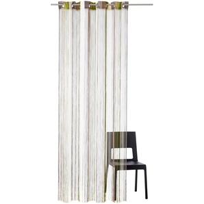 My Home Fadenvorhang »Fao«, H/B 160/95 cm, braun, transparenter Stoff
