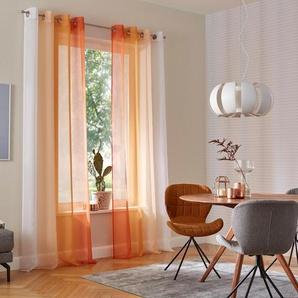 My Home Gardine »Valverde«, H/B 295/144 cm, orange, transparenter Stoff