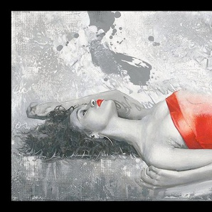 Kunstdruck »ENRICO SESTILLO - Lady in red«, mit Rahmen