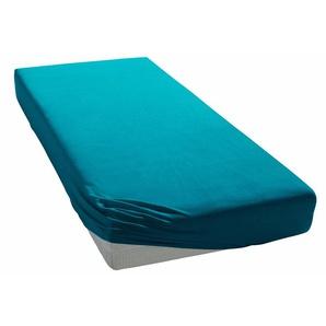My Home Spann-Bettlaken »Jersey«, 180/200 cm, pflegeleicht, hautfreundlich, blau, aus 100% Baumwolle